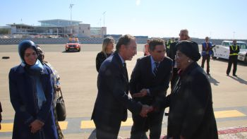 President Sirleaf greeted by Minister of Culture,  Mohamed Amine of  the Kingdom of Morocco upon arrival.