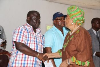 President Sirleaf greets Speaker Tyler at a start of the  Rally in Terh District, Bomi County.