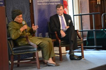 President Sirleaf in interactive discussion as moderated by Steven Radelet, Director of Walsh School of Foreign Service, Georgetown University.