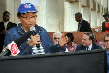 President Sirleaf makes remarks before unveiling the Mt. Coffee Hydro 'Master Plan'
