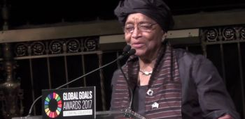 President Sirleaf makes remarks at the Global Goals Awards Ceremony in New York