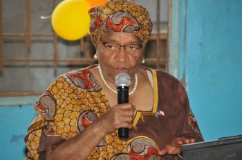 President Sirleaf makes remarks at the offical launch of Liberia's WASH in Schools Program.