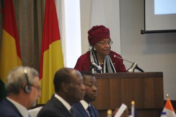 President Sirleaf making opening remarks at the Summit.