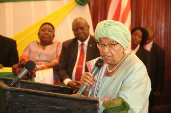 President Sirleaf making remarks at  the  Post Ebola High Level Meeting.