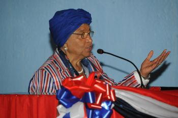 President Sirleaf making remarks at Liberia's 170th Anniversary National Flag Day Ceremony.
