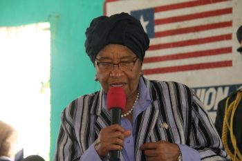 President Sirleaf making remarks at Town Hall Meeting in Foya, Lofa County.