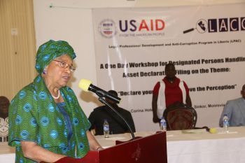 President Sirleaf making remarks at the  Opening Ceremony of a One-Day Workshop for Designated Persons Handling Asset Declaration Filing of LACC.