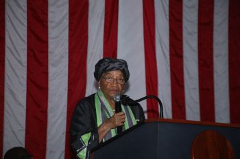 President Sirleaf making remarks at the Celebration of US 241 Years of Independence at the US Embassy in Monrovia.