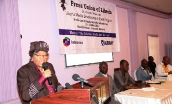 President Sirleaf making remarks at the Media Law and  Regulatory Conference in Monrovia.