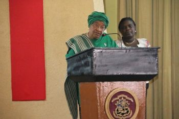 President Sirleaf making remarks at the National   Educational Stakeholders Engagement Meeting
