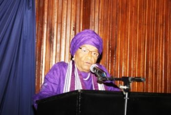 President Sirleaf making remarks at the commissioning  ceremony.