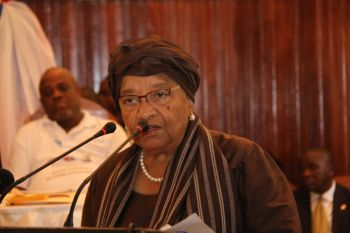 President Sirleaf making remarks at the maiden celebration of ECOWAS Human Rights Day at the Monrovia City Hall.
