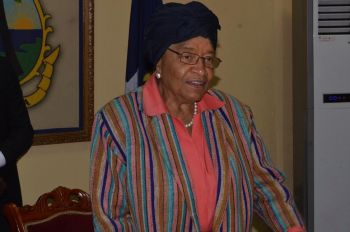 President Sirleaf making remarks.