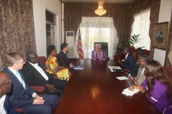 President Sirleaf meets the  International Trade Center Delegation.