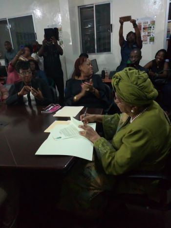 President Sirleaf signs executive order on Domestic Violence