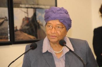 President Sirleaf speaking during NPA dedicatory modernization ceremony.