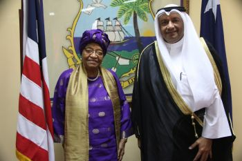 President Sirleaf stands in a photograph with Ambassador Alsaqabi following the Presentation ceremony.