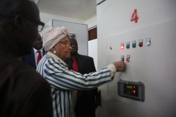 President Sirleaf turns on the White Plains Water Treatment Plant in Harrisburg outside Monrovia