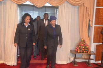 President Sirleaf upon arrival at the Bole International Airport along with Dr. Hirut Welde-Mariam - Min. of Culture and Tourism.