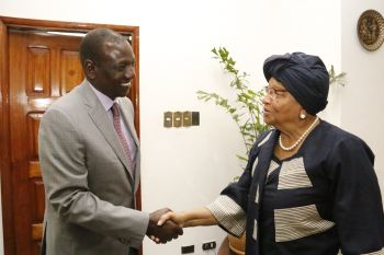 President Sirleaf welcomes Kenya's Deputy President - William Ruto at her Foreign Ministry office.