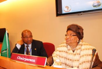 President Sirleaf, Chair of the African Union High-Level Committee on the Post-2015 Agenda, addresses the opening meeting.