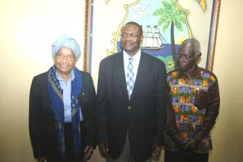 President Sirleaf, ECONEC Chair Yakubu and Dr. Kwadwo Afari-Gyan following the meeting.