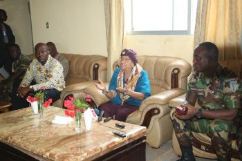 President Sirleaf, Gen. Ziakhan and Acting Minister Johnson