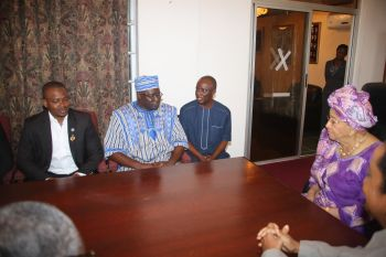 President Sirleaf, Mr. Traore Doeire, Deputy Speaker of Burkina Faso National Assembly  chat.