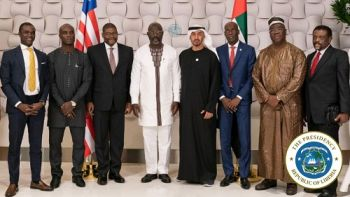 President Weah and entourage pose with the Crown Prince of Abu Dhabi, His Highness Sheikh Mohammed bin Zayed Al Nahyan