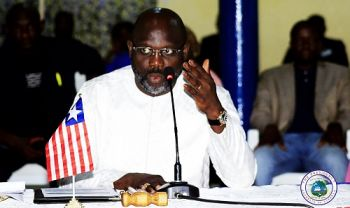 President Weah officially opening his Administration's First Cabinet Retreat