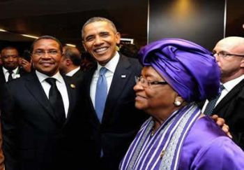 Presidents Sirleaf of Liberia, Obama of the United States and Kikwete of Tanzania.