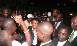 President  Sirleaf enjoying citizens warmth upon arrival Monday