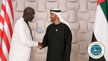 The Crown Prince of Abu Dhabi, His Highness Sheikh Mohammed bin Zayed Al Nahyan greets President George Manneh Weah