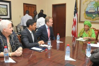 President Sirleaf Meets with Norwegian Foreign Minister Borge Brende & USAID Administrator Rajiv Shah; Both Pledge More Financial and Material Support
