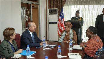 Turkish Foriegn Minister and  President Sirleaf.