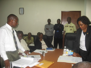 Deputy Minister Parkinson and others during the Bidding Process