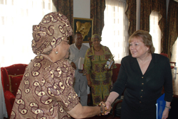 UNICEF Executive Director Madam Anne Venneman meet with President Sirleaf at the Foreign Ministry in Monrovia.