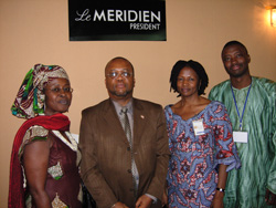 (L-R) Liberian musician Miatta Fahnbulleh, Dr. William Allen, and O.S.I.'s Nana Tanko and Joe Piemabgi after the session on Liberia