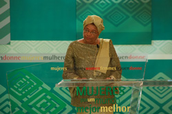 President Sirleaf addressing the Spain-Africa Conference on Women in Madrid
