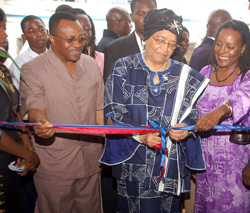President Sirleaf dedicates the newly renovated campus of the College of West Africa.