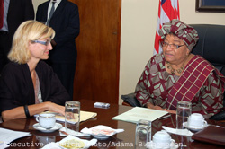 President Sirleaf and Danish Development Minister Madam Ulla Tornaes during the meeting.