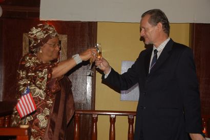President Ellen Johnson Sirleaf and French  Ambassador Jacques Gerard.