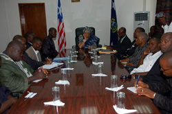President Ellen Johnson Sirleaf listens keenly during the meeting with journalists.
