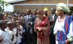 President Sirleaf and Former Lagos State First Lady greet kids in Johnsonville following the program.