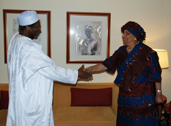 President Sirleaf pays a courtesy call on Nigerian President Yar'adua of Nigeria.