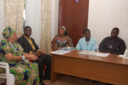 President Sirleaf holds talks with students of the Cuttington University College in Suakoko, Bong County.