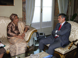 President Sirleaf with mayor Sergio Chiamparino of Turin.