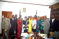 President Sirleaf and members of the FLY delegation a few moments after the meeting.