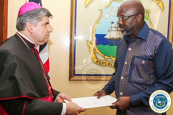 Apostolic Nuncio presenting Letter of Credence to President Weah