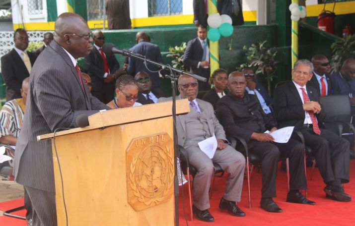 ECOWAS Amb Tunde Ajisomo Pres Weah and UN DEP SG Mohammed at the turning over ceremony